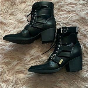 Black Buckle Booties with Cut Outs